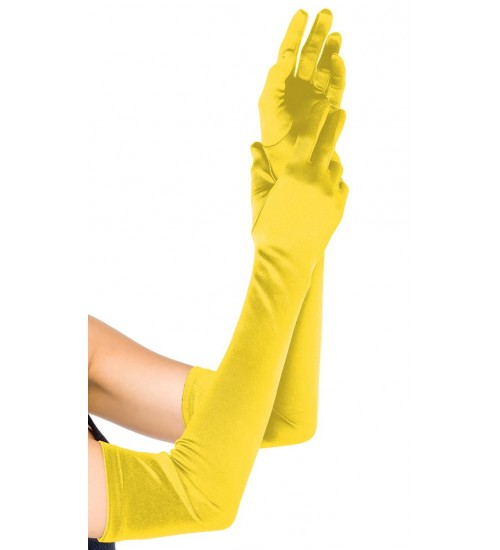Yellow Satin Extra Long Opera Gloves at CrossDress Fashions,  Womens Clothing for Crossdressers, TG, Female Impersonators