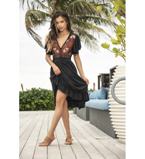 Floral Top Ruffled Black Dress at CrossDress Fashions,  Womens Clothing for Crossdressers, TG, Female Impersonators