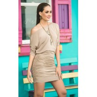 Mocha One Shoulder Date Dress
