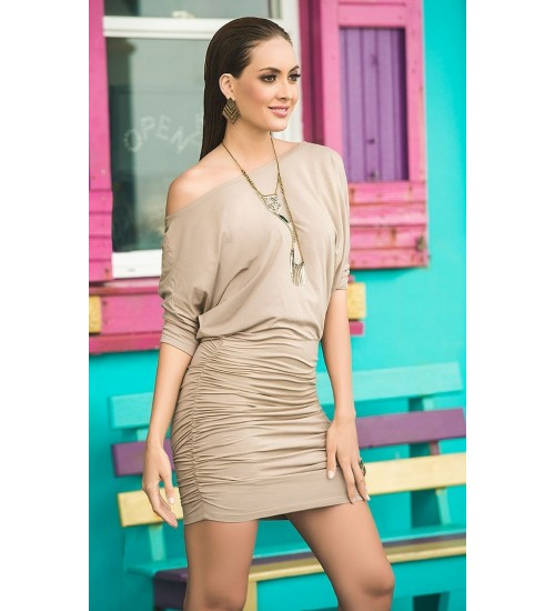 Mocha One Shoulder Date Dress at CrossDress Fashions,  Womens Clothing for Crossdressers, TG, Female Impersonators