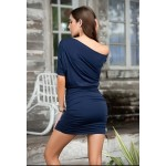 Navy Blue One Shoulder Date Dress at CrossDress Fashions,  Womens Clothing for Crossdressers, TG, Female Impersonators
