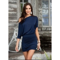 Navy Blue One Shoulder Date Dress