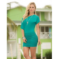 Turquoise One Shoulder Date Dress