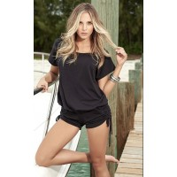 Scoop Neck Black Romper