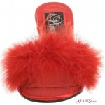 Amour Red Maribou Trimmed Slipper at CrossDress Fashions,  Womens Clothing for Crossdressers, TG, Female Impersonators