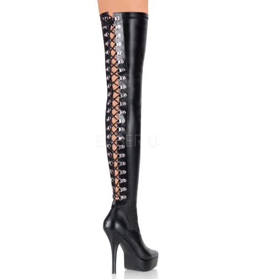 Indulge 3063 Stiletto Thigh High Platform Boot with Lace Up Back at CrossDress Fashions,  Womens Clothing for Crossdressers, TG, Female Impersonators