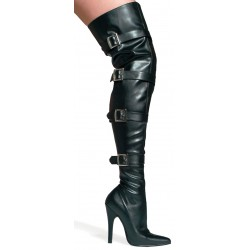 Buckle Up Black Faux Leather Thigh High 5 Inch Heel Boot CrossDress Fashions  Womens Clothing for Crossdressers, TG, Female Impersonators