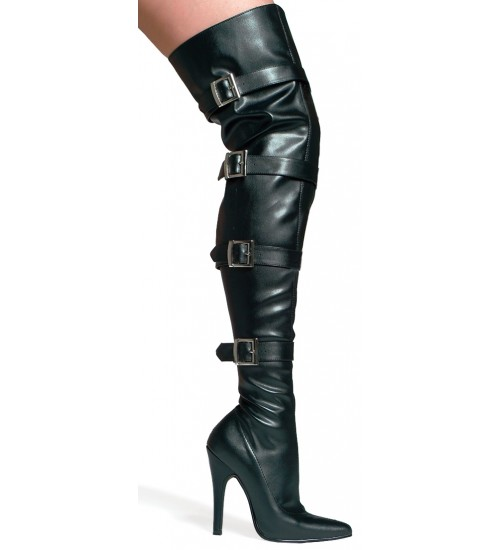 Buckle Up Black Faux Leather Thigh High 5 Inch Heel Boot at CrossDress Fashions,  Womens Clothing for Crossdressers, TG, Female Impersonators