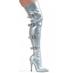 Buckle Up Silver Thigh High 5 Inch Heel Boot CrossDress Fashions  Womens Clothing for Crossdressers, TG, Female Impersonators