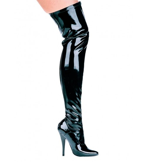 Ally Black Patent Thigh High 5 Inch Heel Boot at CrossDress Fashions,  Womens Clothing for Crossdressers, TG, Female Impersonators