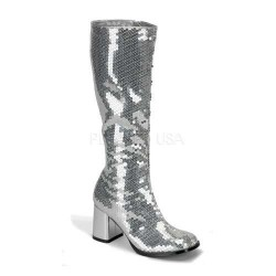 Spectacular Silver Sequin Covered Gogo Boots CrossDress Fashions  Womens Clothing for Crossdressers, TG, Female Impersonators