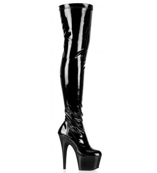 Adore Black Patent Thigh High Platform Boot at CrossDress Fashions,  Womens Clothing for Crossdressers, TG, Female Impersonators