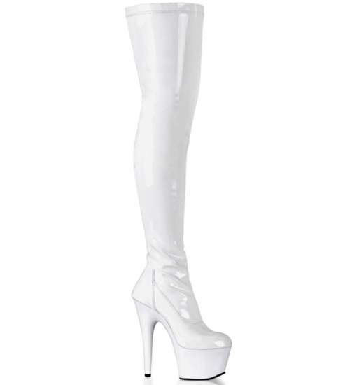 Adore White Thigh High Platform Boot at CrossDress Fashions,  Womens Clothing for Crossdressers, TG, Female Impersonators