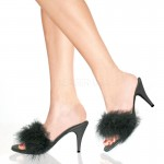 Amour Black Maribou Trimmed Slipper at CrossDress Fashions,  Womens Clothing for Crossdressers, TG, Female Impersonators