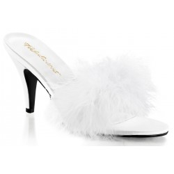 Amour White Maribou Trimmed Slipper CrossDress Fashions  Womens Clothing for Crossdressers, TG, Female Impersonators