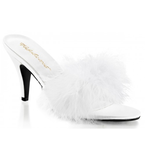 Amour White Maribou Trimmed Slipper at CrossDress Fashions,  Womens Clothing for Crossdressers, TG, Female Impersonators