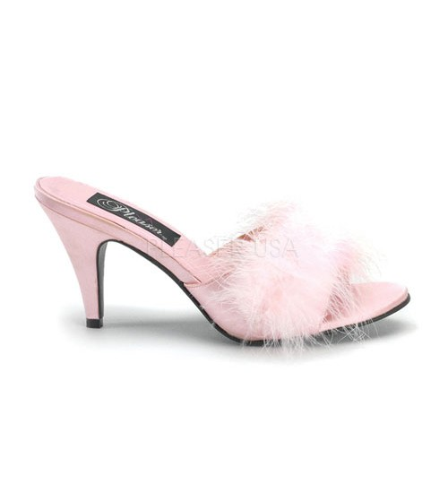 Amour Baby Pink Maribou Trimmed Slipper at CrossDress Fashions,  Womens Clothing for Crossdressers, TG, Female Impersonators