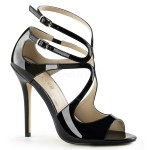 Amuse Black Curvy Sandal at CrossDress Fashions,  Womens Clothing for Crossdressers, TG, Female Impersonators