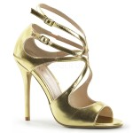 Amuse Metallic Gold Curvy Sandal at CrossDress Fashions,  Womens Clothing for Crossdressers, TG, Female Impersonators
