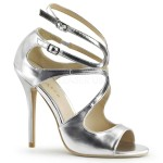 Amuse Metallic Silver Curvy Sandal at CrossDress Fashions,  Womens Clothing for Crossdressers, TG, Female Impersonators