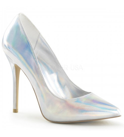 Amuse Silver Hologram 5 Inch High Heel Pump at CrossDress Fashions,  Womens Clothing for Crossdressers, TG, Female Impersonators
