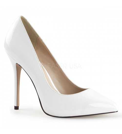 Amuse White 5 Inch High Heel Pump at CrossDress Fashions,  Womens Clothing for Crossdressers, TG, Female Impersonators