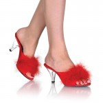 Belle Red Maribou Satin Slipper at CrossDress Fashions,  Womens Clothing for Crossdressers, TG, Female Impersonators