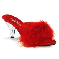 Belle Red Maribou Satin Slipper