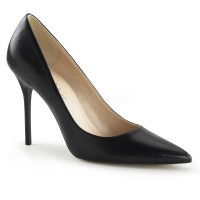 Classique Black Faux Leather 4 Inch High Heel Pump