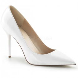 White Classique Pointed Toe Pump CrossDress Fashions  Womens Clothing for Crossdressers, TG, Female Impersonators