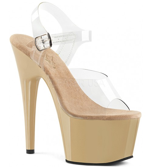 Cream Platform Clear Strap Platform Sandal at CrossDress Fashions,  Womens Clothing for Crossdressers, TG, Female Impersonators