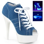 Denim Blue High Heel Peep Toe Sneaker at CrossDress Fashions,  Womens Clothing for Crossdressers, TG, Female Impersonators