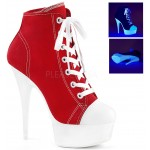 Red and White High Heel Platform Sneaker at CrossDress Fashions,  Womens Clothing for Crossdressers, TG, Female Impersonators