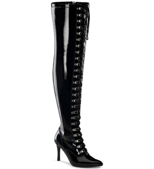 Dominatrix Wide Width Black Thigh High Boots