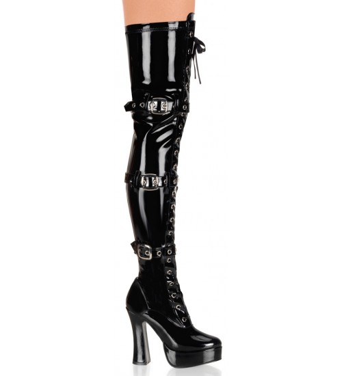 Electra Black Patent Buckled Thigh High Platform Boots