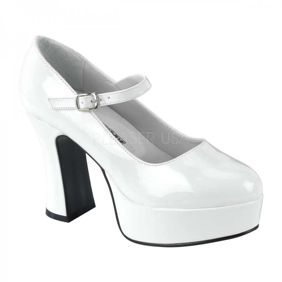 057e355576 ... sizes up to 14. White Mary Jane Square Heeled Pump at CrossDress  Fashions, Womens Clothing for Crossdressers, TG