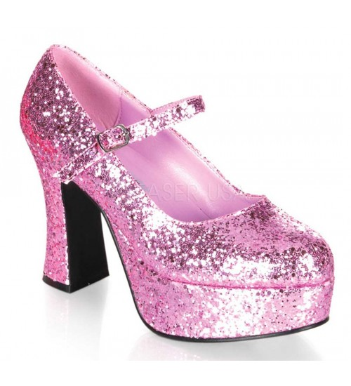 Baby Pink Mary Jane Glitter Square Heeled Pump at CrossDress Fashions,  Womens Clothing for Crossdressers, TG, Female Impersonators