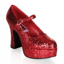 Red Mary Jane Glitter Square Heeled Pump CrossDress Fashions  Womens Clothing for Crossdressers, TG, Female Impersonators