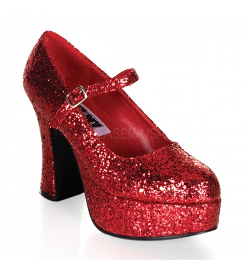 Red Mary Jane Glitter Square Heeled Pump at CrossDress Fashions,  Womens Clothing for Crossdressers, TG, Female Impersonators