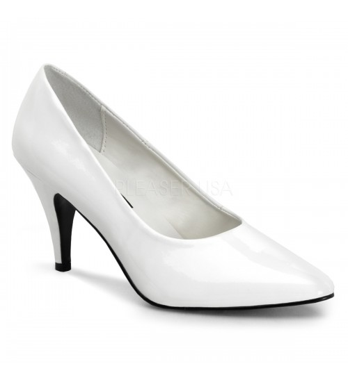 White Classic Pump 420 with 3 Inch Heel at CrossDress Fashions,  Womens Clothing for Crossdressers, TG, Female Impersonators