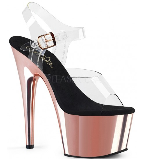 Rose Gold Chrome Platform Clear Strap Platform Sandal at CrossDress Fashions,  Womens Clothing for Crossdressers, TG, Female Impersonators