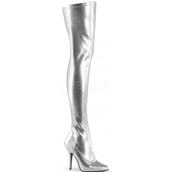 Seduce Silver High Heel Thigh High Boots