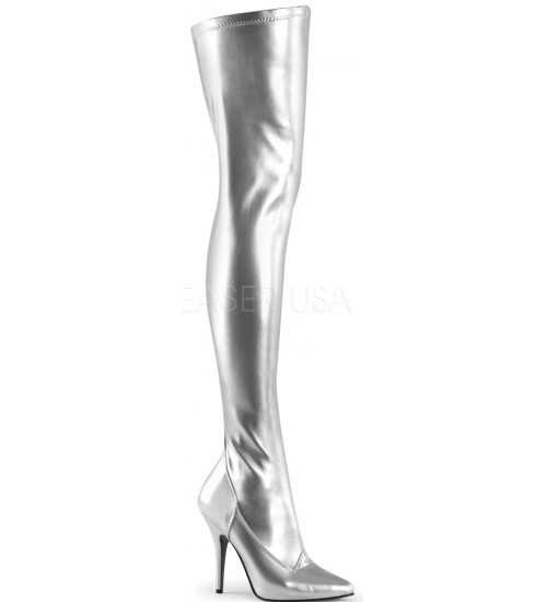 Seduce Silver High Heel Thigh High Boots at CrossDress Fashions,  Womens Clothing for Crossdressers, TG, Female Impersonators
