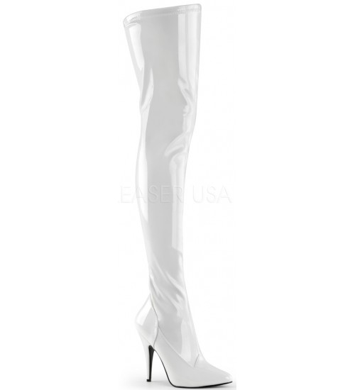 Seduce White High Heel Thigh High Boots at CrossDress Fashions,  Womens Clothing for Crossdressers, TG, Female Impersonators