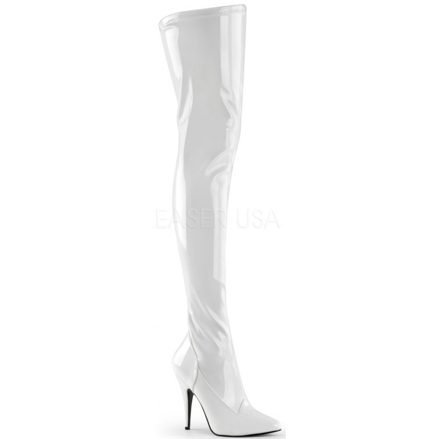 e3cc2387d28 Seduce White High Heel Thigh High Boots