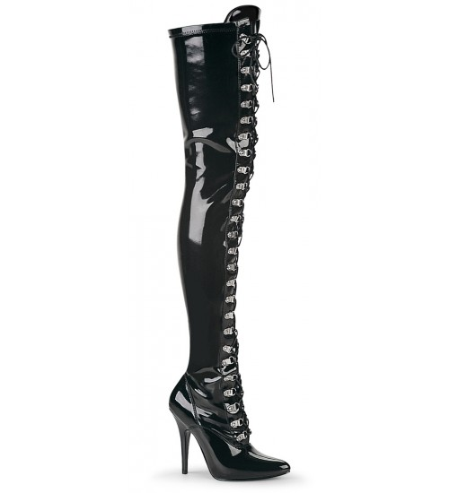 Seduce Black Patent Lace Up Thigh High Boots at CrossDress Fashions,  Womens Clothing for Crossdressers, TG, Female Impersonators
