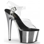 Silver Chrome Platform Clear Strap Platform Sandal at CrossDress Fashions,  Womens Clothing for Crossdressers, TG, Female Impersonators