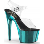 Turquoise Chrome Platform Clear Strap Platform Sandal at CrossDress Fashions,  Womens Clothing for Crossdressers, TG, Female Impersonators